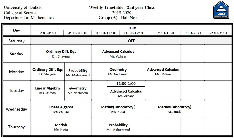 College of Science Schedule Math_2A