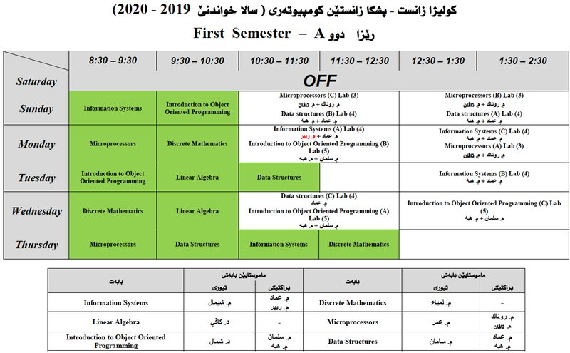 College of Science Schedule CS_2A