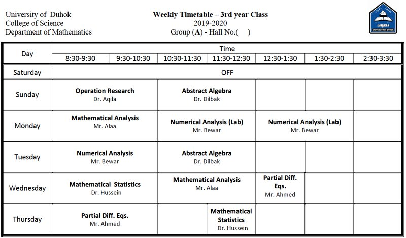 College of Science Schedule Math_3A