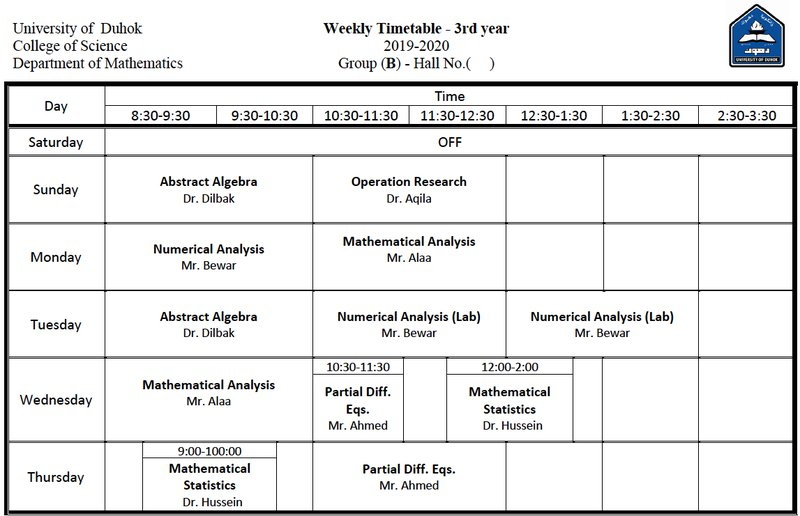 College of Science Schedule Math_3B