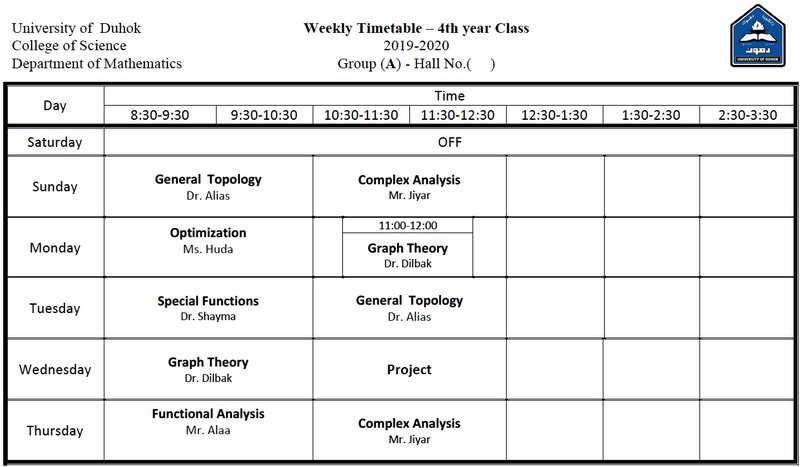 College of Science Schedule Math_4A