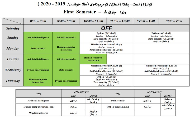 College of Science Schedule CS_4A