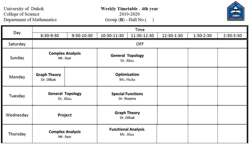 College of Science Schedule Math_4B
