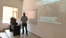 A Guest Lecturer Presents a Lecture on Concrete to the Civil Engineering Students