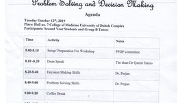Workshop on personal and professional Development Program (PPDP) , Problem Solving and Decision Making